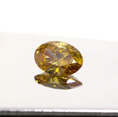 1.01 Ct. Natural Fancy Deep Brown yellow Square Cushion shape Diamond, GIA