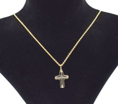 14 K yellow and white gold chain with Cross  - 45  cm