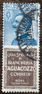 "Italy, Kingdom, 1924/1925 – Advertising, 25 cents. Blue and brown ""Taglacozzo"" – Sass. No. 8"