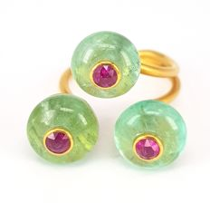 Triplet Ring Rubies-0.64 carats inland into Emerald Beads- 16.86 carats in 18 kt Yellow Gold- FREE SHIPPING