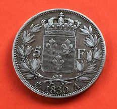 France - 5 Francs 1830 A (Paris) - Charles X - argent