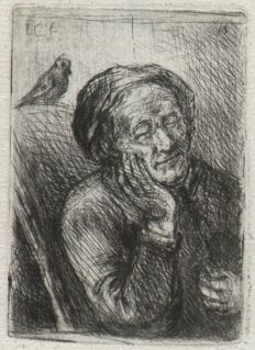 Jan Chalon (1738-1795) - Old man with a pigeon sitting on his Chair  - Rare first state - Signed in the plate and handsigned below - Ca. 1790