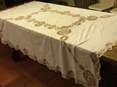 Beautiful old handmade old French tablecloth, with embroidery and lace. Around 1940