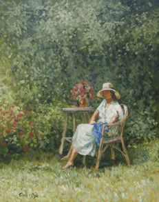 "Chris van Dijk  (1952)  -  ""LADY SITTING IN A CHAIR ENJOYING THE GARDEN""."
