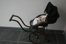 Old doll's pram Baroque style