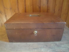 Antique large brown leather clad jewellery box with key and Bramah lock