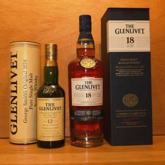 2 bottles - The Glenlivet 12 years old 35cl bottled 2009 and 18 years old 70cl.