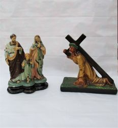 Plaster Jesus Christ 'Carrying Cross Crucifix' And Antique Holy Family Figurine / Statue