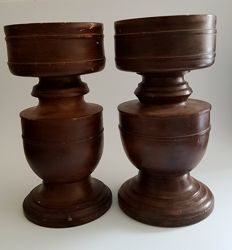 English wooden candle holder - 2 pieces