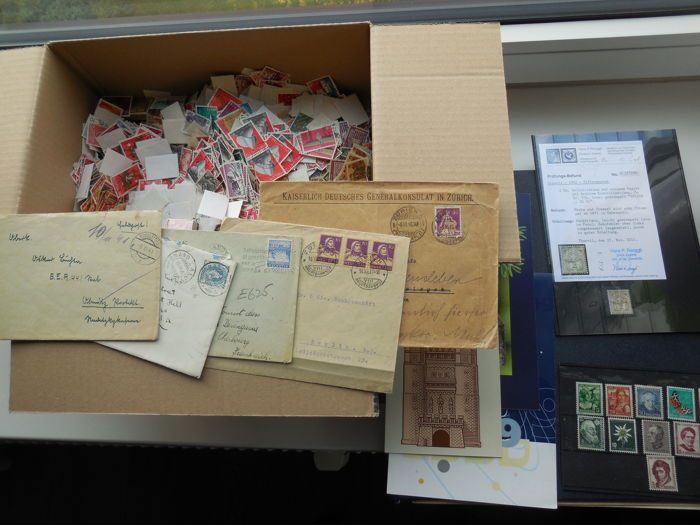 Switzerland/Austria - Remains collection i.a. album(sheets), letters, stamps with certificate and over 20,000 stamps