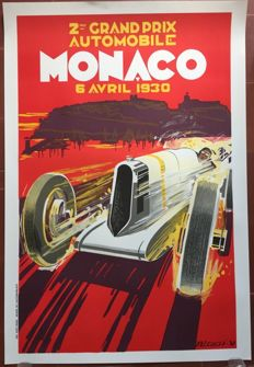 2nd Grand Prix Automobile of Monaco 1930 -  68 x 100 cm poster - printed in 1985