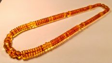 Baltic Amber necklace with Faceted amber accents, length 47 cm