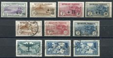 France 1922/36 – Selection of semi-classic stamps – Yvert no. 166/69, 230/32, 321, 252, 252b (State 3)