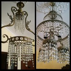 Two crystal glass chandeliers - 20th century