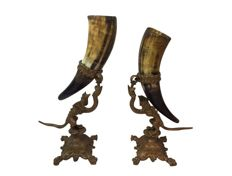 A pair of Cornucopia or Horn of Plenty carried by brass dragons - c. 1900