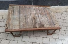 Industrial wooden coffee table.