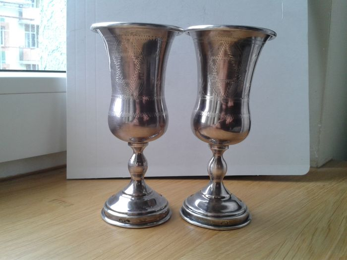 Two sterling silver Kiddush cups - marked AC - circa 1920