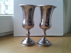 Two sterling silver Kiddush cups, marked AC - circa 1920