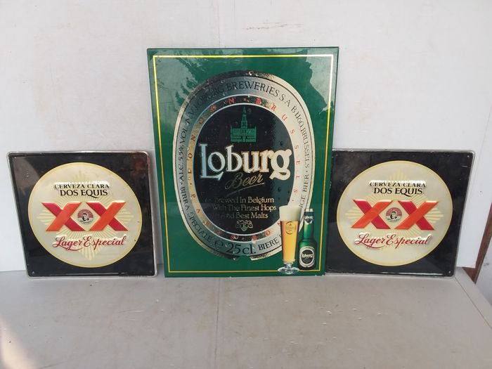 Tin and cardboard beer advertising signs bass loburg dos equis.-1995/2000.