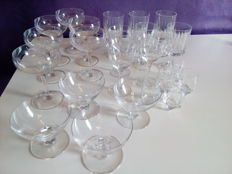 23 crystal glasses - France, 1930s/50s/60s