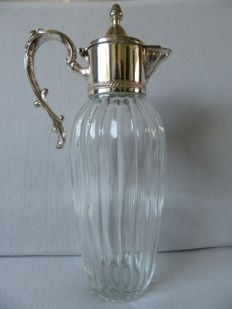 Crystal decanter with silver plated mounts, Italy, 1st half 20th century.