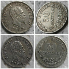 Italy, Kingdom - 50 Centesimi 1863 M Normal and Overstruck (2 coins) - silver