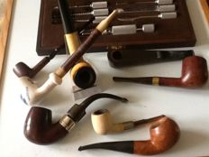 8 tobacco pipes and a beautiful cleaning set