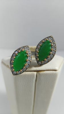 Silver ring (925‰) with emeralds and white sapphires - size 8 (it can be adjusted manually)