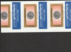 Republic of Italy - Lot of 5 varieties of stamps in Euro and Lira. Priority Mail, Carabinieri and Chess