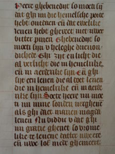 Manuscript; Prayers from a book of hours on vellum - Soete Jhesus ghi sijt eene spise ende een voetsel - c. 1450