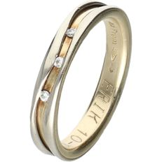 14 kt Bi-colour yellow/white gold ring set with 3 round brilliant cut diamonds of approx. 0.01 ct each - Ring size: 19 mm