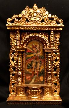 "Hand Carved Retablo Final 18th Century Cuzco Colonial School ""Archangel Saint Rafael"""