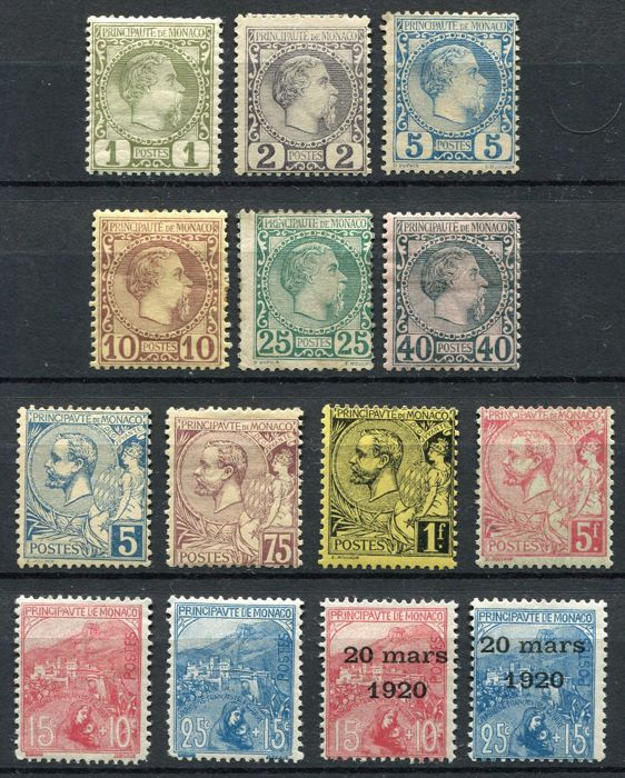 Monaco 1885 - Selection of classic stamps - Yvert no. 1/4, 6, 7, 13, 19/21, 29, 30, 39, 40