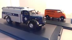 "Schuco - Scale 1/43 - Magirus S6500 Tankwagen ""ARAL"" & DKW van with trailer ""Büssing"" - Limited Edition 1000 pieces"