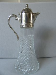 Claret Jug with silver plated frame, England. 1st half 20th century.