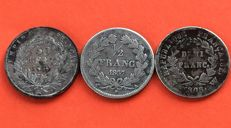 France - 50 Centimes 1808 W, 1837 A and 1859 A (lot of 3 coins) - Silver