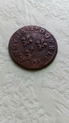France - Louis XIII, 2 Tournois, 1638, red copper