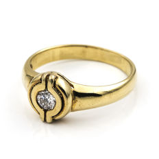 750/1000 (18 kt) yellow gold - Solitaire - Diamond, 0.25 ct - Cocktail ring size: 13 (Spain)