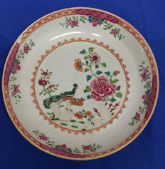 18th Century Export porcelain Famille Rose deep plate with double peacock, Qing Dynasty, Quanlong (1735-1790)