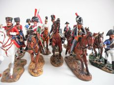 Cavalry of the Napoleonic Wars: Lot with eleven hand-painted figures on horseback - 1:30 scale, DelPrado