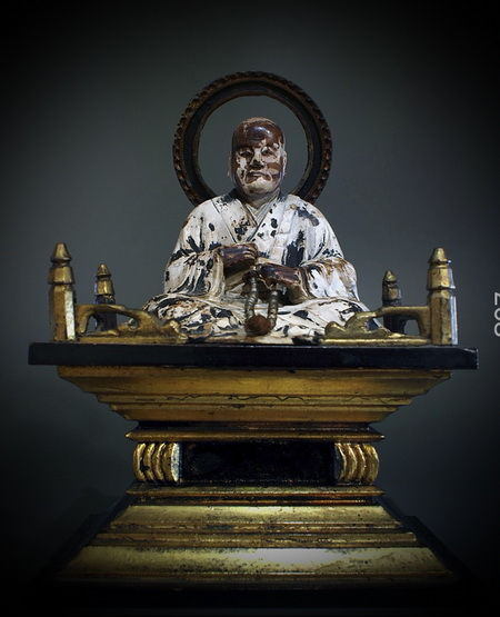 Monk Shinran seated on a throne (dais) - Japan - 19th century (Edo period)
