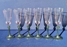 Lot of 6 bicolour chiselled ground crystal glasses, Saint Louis, France - ca. 1840