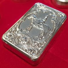 The Guards Regiments Silver Box Collection - Solid 925/1000 silver pill box - Queen Elizabeth || - Franklin Mint