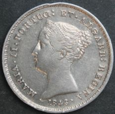 Portugal Monarchy - Maria II (1834-1853) - 100 Reis - 1843 (Overdate - 43 Over 38) - Silver