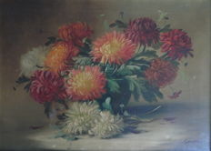 G Duval (Julien Stappers) (1875-1960) - Stilleven chrysanten in vaas