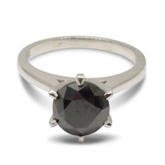 2.36ct. Black Diamond Engagement Ring in 14kt White Gold  Size: 6.5 (Free Sizing) - No Reserve Price