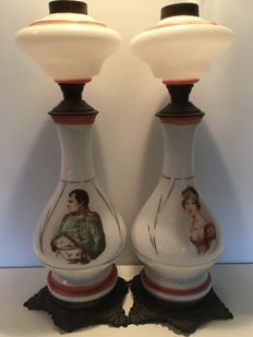 A set of opaline oil lamps with portraits of Napoleon and Josephine