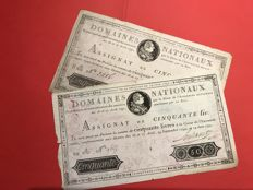 France - 2 assignats of 50 livres (pounds) Royal HEAD in 1790 and 1791 - Pick A34 and A43