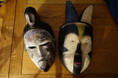 Former mask of Sogho tribe and IDOMA tribe - origin GABON and NIGERIA - in wood