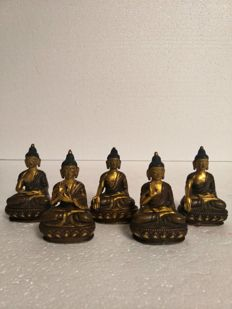 Group of Buddhas doing different actions in gilt bronze - Tibet - end of 20th century